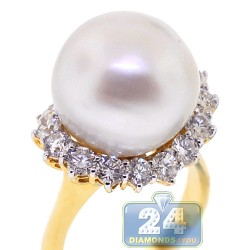 18K Yellow Gold 1.63 ct Diamond 15 mm Pearl Womens RIng