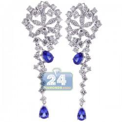 18K White Gold 8.95 ct Diamond Tanzanite Womens Dangle Earrings