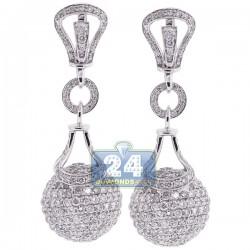 18K White Gold 9.91 ct Diamond Womens Dangle Ball Earrings