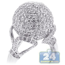 18K White Gold 4.20 ct Diamond Womens Ball Ring