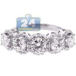18K White Gold 2.72 ct Five Round Diamond Womens Ring
