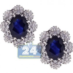 18K White Gold 8.07 ct Blue Sapphire Diamond Womens Flower Earrings