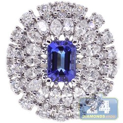 18K White Gold 2.57 ct Diamond Tanzanite Womens Cocktail Ring
