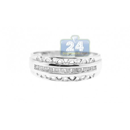 14K White Gold 0.16 ct 1 Row Diamond Womens Band Ring