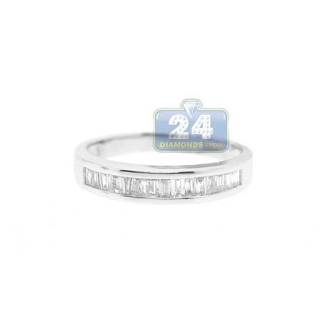 14K White Gold 0.50 ct Diamond Baguette Band Ring