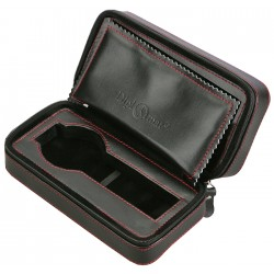 Diplomat Black Leather Double Watch Zippered Travel Case 31-467