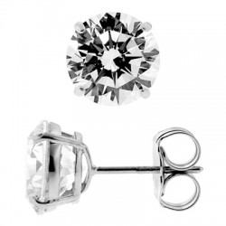 14K White Gold 7.60 ct Round CZ Push Back Mens Stud Earrings 10 mm