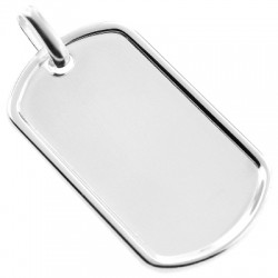 Italian Silver Framed ID Dog Tag Mens Pendant 1 7/8 Inches