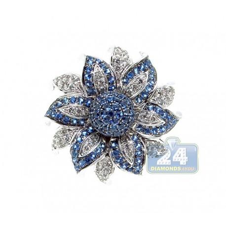 14K White Gold 1.02 ct Blue Sapphire Womens Flower Ring