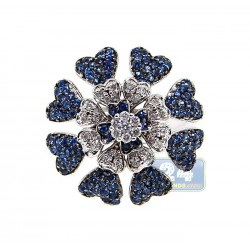 14K White Gold 1.00 ct Diamond Blue Sapphire Womens Flower Ring