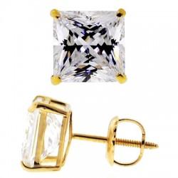 14K Yellow Gold 3.90 ct Princess CZ Screw Back Womens Stud Earrings
