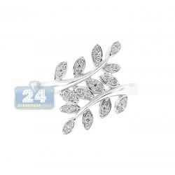 14K White Gold 0.14 ct Diamond Womens Leaf Ring