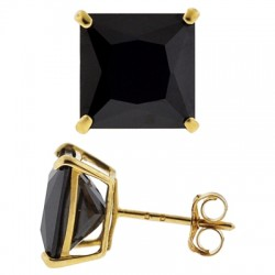14K Yellow Gold 6.00 ct Black Square CZ Push Stud Mens Earrings 8 mm