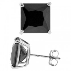 14K White Gold 6.00 ct Black Square CZ Push Stud Mens Earrings 8 mm