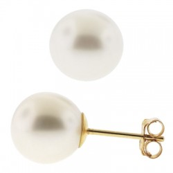14K Yellow Gold Cultured Pearl Womens Stud Earrings 3-9 mm