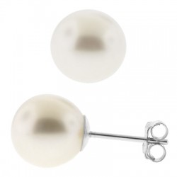 14K White Gold Cultured Pearl Womens Stud Earrings 3-9 mm