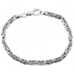 925 Silver Byzantine Solid Link Mens Bracelet 5 mm 9 Inches