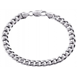 925 Sterling Silver Miami Cuban Link Mens Bracelet 7 mm 8 Inches