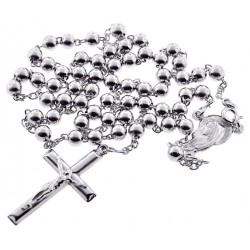 Sterling Silver Rosary Cross Mens Bead Necklace 5 mm