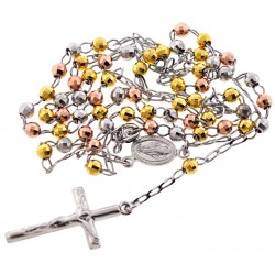 Three Tone Silver Diamond Cut Rosary Mens Necklace 4 mm 24 Inches