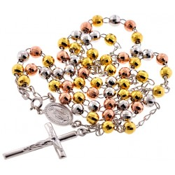 Tri-Tone Silver Diamond Cut Rosary Mens Necklace 6 mm 26 Inches