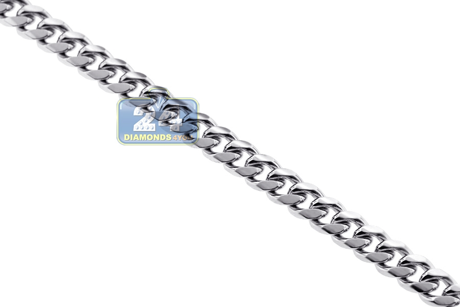 Sterling Silver Solid Miami Cuban Link Mens Chain 7 Mm