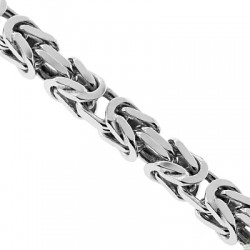 Italian Sterling Silver Solid Byzantine Mens Chain 7 mm