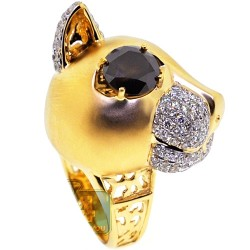 GIA 18K Yellow Gold 3.68 ct Fancy Brown Diamond Womens Cat Ring