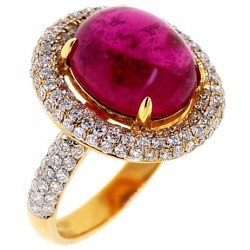 18K Yellow Gold 8.61 ct Pink Tourmaline Cabochon Diamond Ring