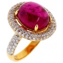 18K Yellow Gold 8.61 ct Pink Cabochon Tourmaline Diamond Ring