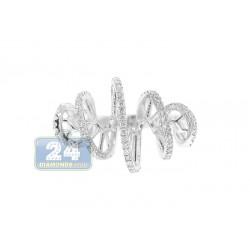 14K White Gold 0.46 ct Diamond Womens Swirl Band Ring