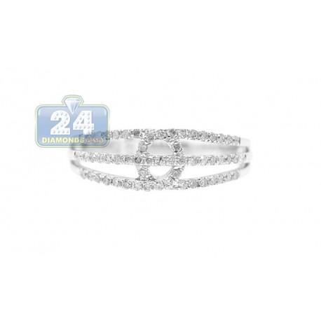 14K White Gold Open Design 0.36 ct Diamond Womens Band Ring
