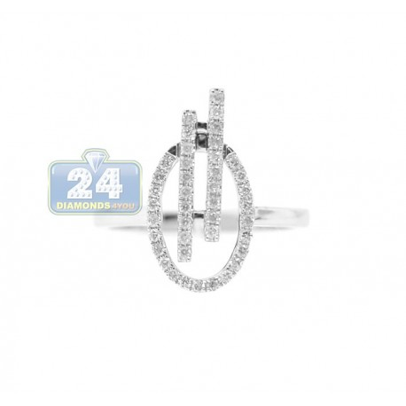 14K White Gold 0.30 ct Diamond Womens Oval Ring
