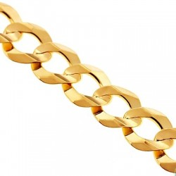 10K Yellow Gold Flat Cuban Solid Link Mens Chain 11 mm