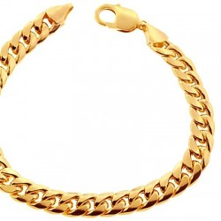 10K Yellow Gold Miami Cuban Link Mens Bracelet 9.5 mm 9 Inches