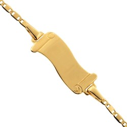 14K Yellow Gold Name ID Roll Link Kids Bracelet 5.75 Inches