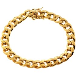 10K Yellow Gold Puff Miami Cuban Link Mens Bracelet 10 mm 8.75 Inches