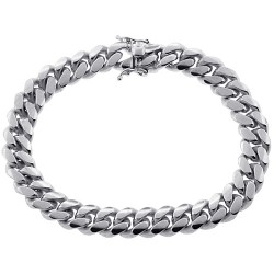 10K White Gold Miami Cuban Solid Link Mens Bracelet 10 mm 9 Inches