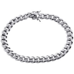 10K White Gold Miami Cuban Solid Link Mens Bracelet 9 mm 9 Inches