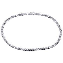 10K White Gold Miami Cuban Solid Link Mens Bracelet 3.5 mm 8 Inches