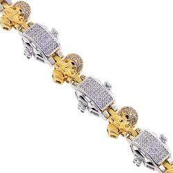 14K Two Tone Gold 2.06 ct Diamond Link Mens Skull Bracelet 8.75 Inches