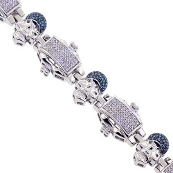 14K White Gold 2.10 ct Blue Diamond Skull Mens Bracelet 8.75 Inches