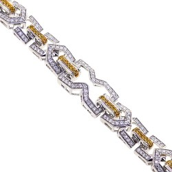 14K White Gold 3.55 ct Diamond Link Mens Bracelet 8.5 Inches