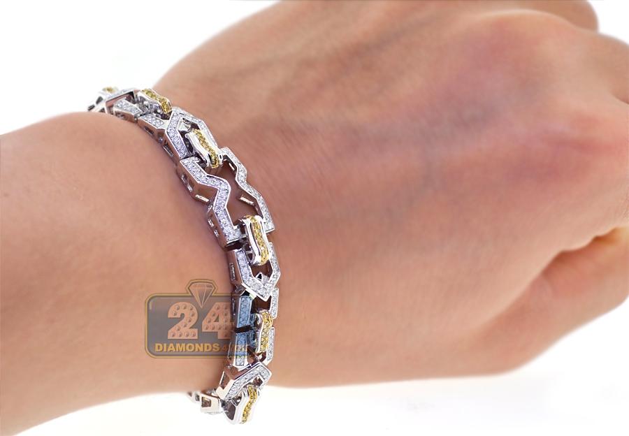 14k white gold 3 55 ct link mens bracelet 8 5 inches
