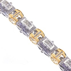 14K Two Tone Gold 6.37 ct Diamond Link Mens Bracelet 16 mm 8.5 Inches