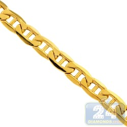 Italian 10K Yellow Gold Mariner Hollow Link Mens Chain 10.5 mm