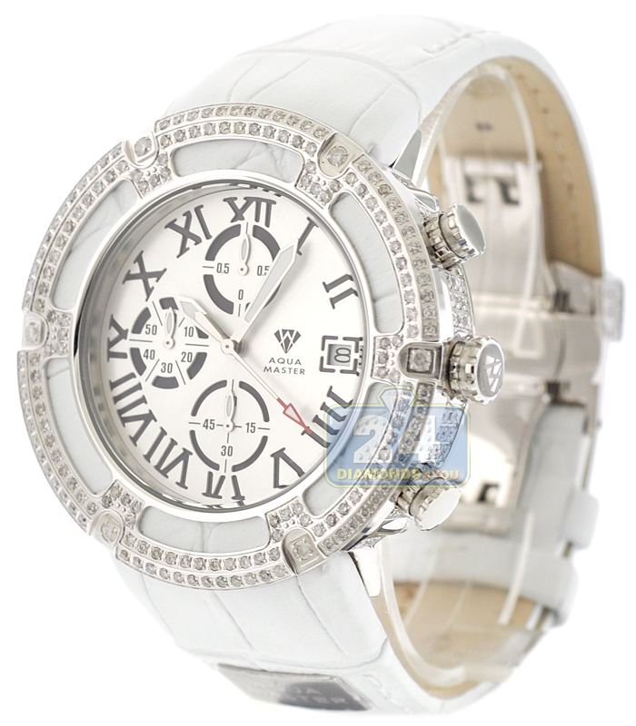 buy mens diamond watches wrist watch for men aqua master el russo 5 35 ct diamond white leather mens watch