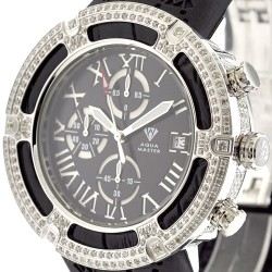 Aqua Master El Russo 5.35 ct Diamond Black Rubber Mens Watch