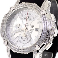 Mens Diamond Watch Aqua Master Nicky Jam 5.00 ct Silver Dial