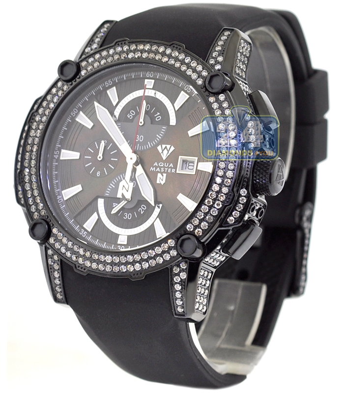 mens diamond watch aqua master nicky jam 5 00 ct black steel